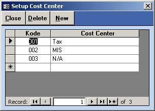 Setup Cost Center