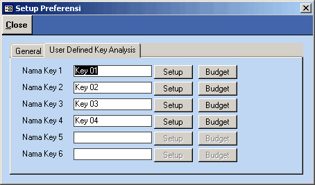 Setup user Defined Key Analysis