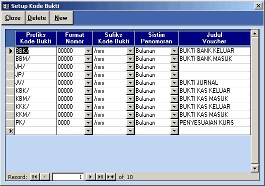 Setup Format Kode Bukti
